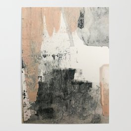 Peace and Quiet [1]: a pretty, minimal abstract piece in gray and peach by Alyssa Hamilton Art Poster