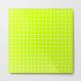 Electric lime - green color - White Lines Grid Pattern Metal Print