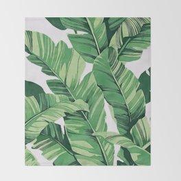 Tropical banana leaves V Throw Blanket