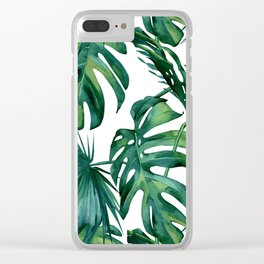 Classic Palm Leaves Tropical Jungle Green Clear iPhone Case