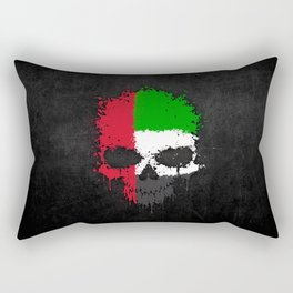 Flag of United Arab Emirates on a Chaotic Splatter Skull Rectangular Pillow