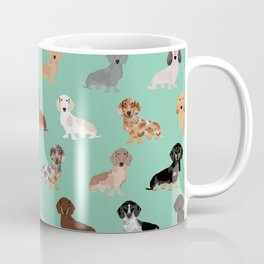 Dachshund dog breed pet pattern doxie coats dapple merle red black and tan Coffee Mug