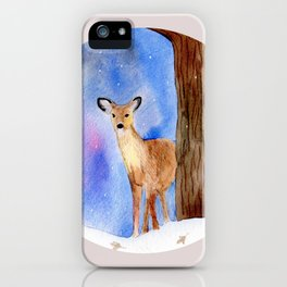 Deer in Forest Winter Painting iPhone Case