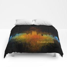 Nashville city skyline Tennessee watercolor v4 Dak Comforters