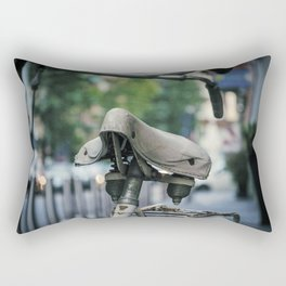 Old white bicycle in a little alley in the center of Milan Rectangular Pillow
