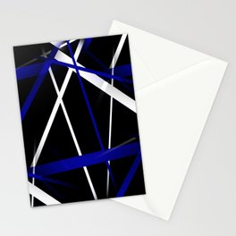 Seamless Royal Blue and White Stripes on A Black Background Stationery Cards