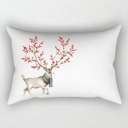 Rudolph the Winterberry Antler'd Reindeer Rectangular Pillow