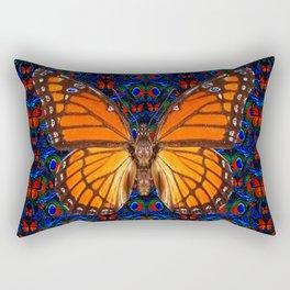 ORANGE BUTTERFLIES  & DARK BLUE ART PATTERN Rectangular Pillow