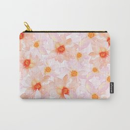 orange and pink watercolor dahlias Carry-All Pouch