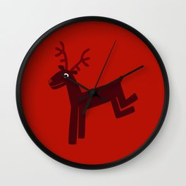 Reindeer-Red Wall Clock