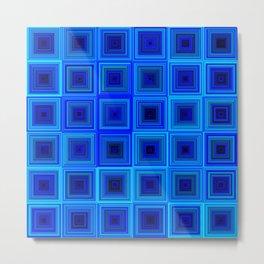 6x6 005 - abstract neon blue pattern Metal Print