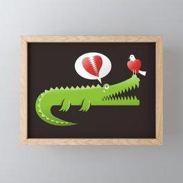 Alligator in Love Framed Mini Art Print