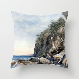 John Skinner Prout The Derwent Crags, Hobarton Throw Pillow