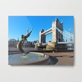 Girl With A Dolphin Metal Print