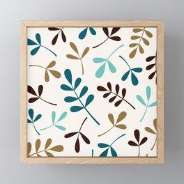Assorted Leaf Silhouettes Teals Brown Gold Cream Framed Mini Art Print
