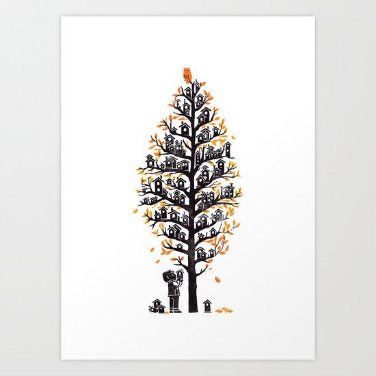 Hoot Lodge Art Print