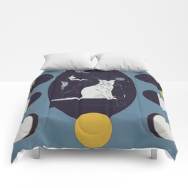 Kitty Ascension Moon Phase in Muted Blue Comforters