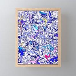 Kamasutra LOVE - Indigo Blue Framed Mini Art Print