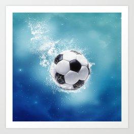 Soccer Water Splash Art Print