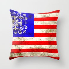 An American flag Throw Pillow