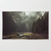 a lot of cats Area & Throw Rugs featuring Foggy Forest Creek by Kevin Russ