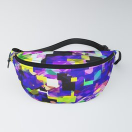 geometric square pixel pattern abstract in blue yellow pink Fanny Pack