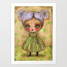 Dandelion Girl in Yellow And Green Art Print