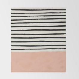 Peach x Stripes Throw Blanket