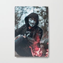person-wearing-guys-fawkes-mask Metal Print