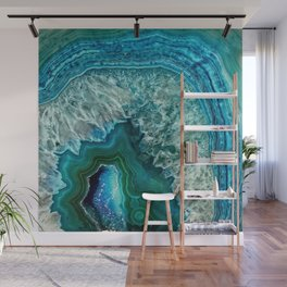 Aqua turquoise agate mineral gem stone - Beautiful Backdrop Wall Mural