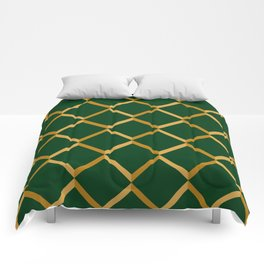 Abstract modern geometry green diamonds in gold edging Comforters