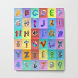 Alphabet and numbers Metal Print