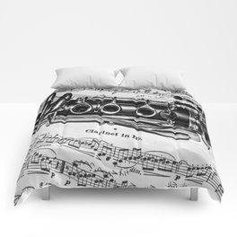B Flat Clarinet in Black & White Comforters