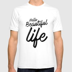 Hello Beautiful Life White SMALL Mens Fitted Tee