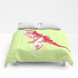 Dino Pop Art - T-Rex - Lime & Red Comforters