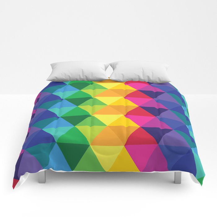Geometric Galaxy - All the Colors of the Rainbow Comforters