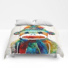 Sock Monkey Art - Your New Best Friend - By Sharon Cummings Comforters
