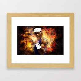 Rafael Nadal on Fire Print Framed Art Print