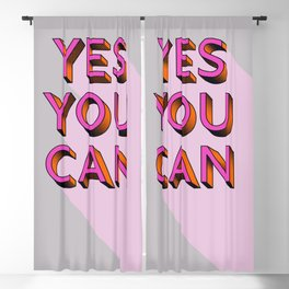 YES YOU CAN - typography Blackout Curtain