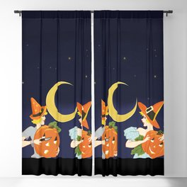 Vintage Halloween Costume Party Pumpkin Carving Blackout Curtain