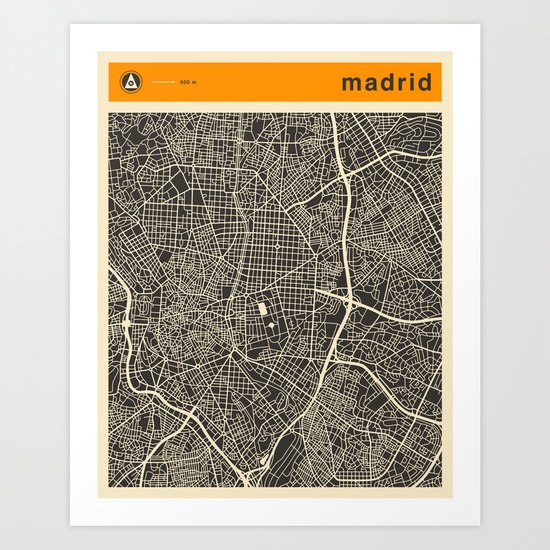 Madrid Map Art Print