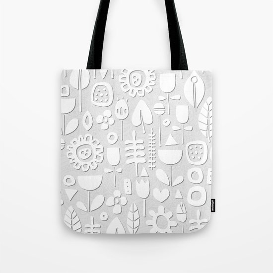 paper cut flowers white silver Tote Bag