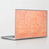 chevron Laptop & iPad Skins featuring Stockinette Orange by Elisa Sandoval