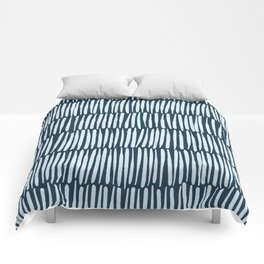 Inspired by Nature | Organic Line Texture Dark Blue Elegant Minimal Simple Comforters