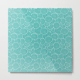 Chinese Spirals Pattern | Abstract Waves | Swirl Patterns | Circles and Swirls | Teal and White | Metal Print