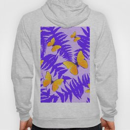 Modern Design Purple Fern Fronds Yellow Butterflies Hoody