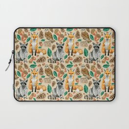 Woodland Creatures Illustrated Watercolor Pattern Laptop Sleeve
