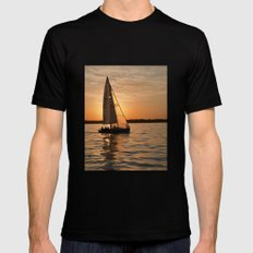 Sail into the sunset Black MEDIUM Mens Fitted Tee