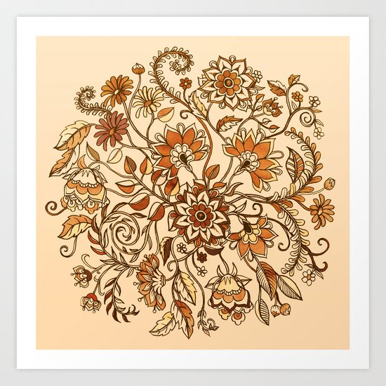 Jacobean Inspired Floral Doodle in Neutral Woodland Colors Art Print