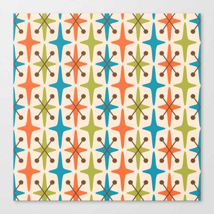 Mid Century Modern Abstract Star Pattern 441 Orange Brown Turquoise Chartreuse Leinwanddruck